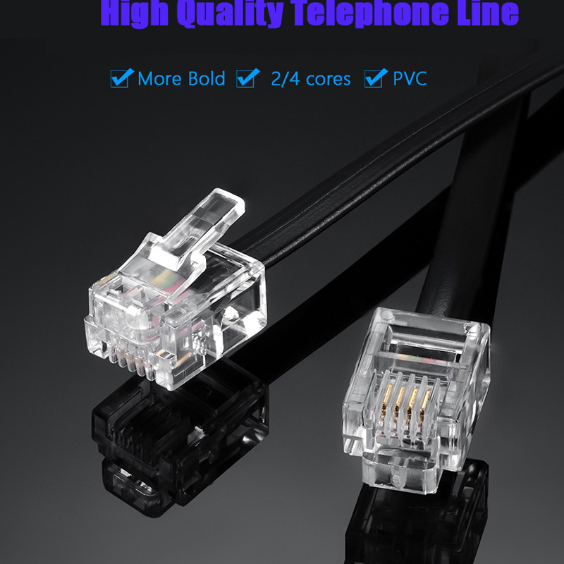Telephone Line Cord Cable Wire Connection 6P4C RJ11 DSL Modem Fax Phone To Wall Black For Telephone