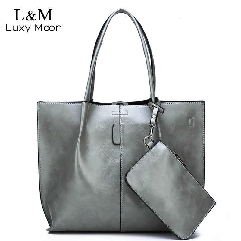23384fdbe880 2Pcs Set Fashion Women Bag Top Handbags Large Capacity Female Shoulder Bags  Casual Lady Leather