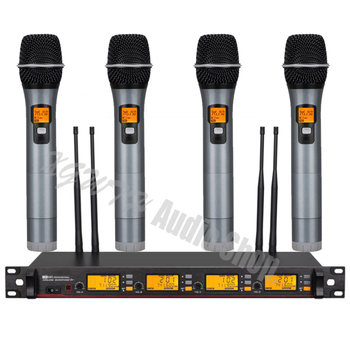 UHF Wireless Microphone System 4 Dynamic Microphone Cordless DJ Karaoke Audio Handheld Microphone Mic System