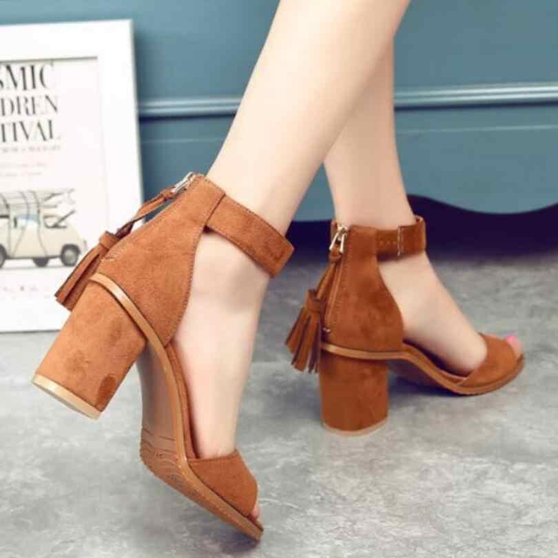nouvelle collection f8e28 249b3 Chaussures femme 2019 été gland troupeau femmes sandales frange sandale  talons épais talons hauts sandales sandalias de salto alto
