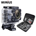 Wimius action sports cámara 4 k wifi mini full hd 1080 p 60fps Cam Video Camara Casco Al Aire Libre Ir 40 M Impermeable de Buceo Pro + bolsa
