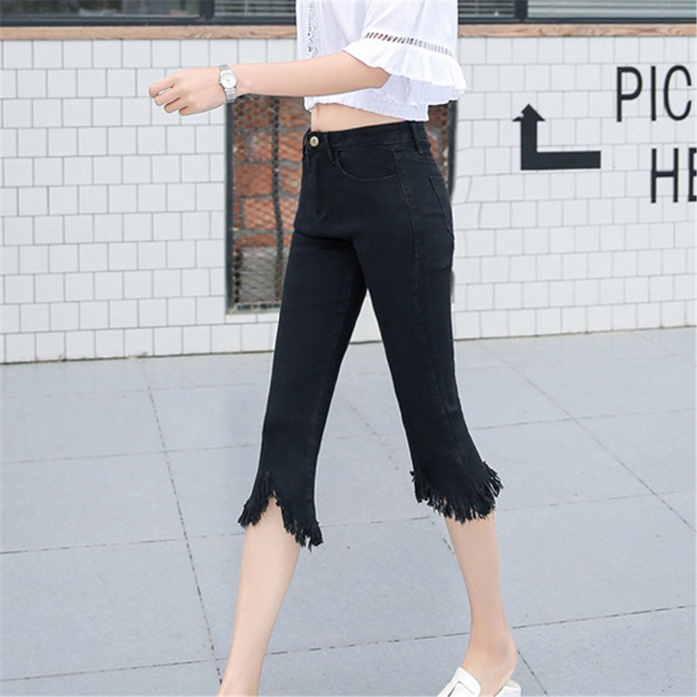 Jeans Woman Fashion Tight Abdomen Bell Mouth Tassel Slim Fit Cropped Trousers Women Jeans Mujer Jean Femme Denim Spodnie Damskie
