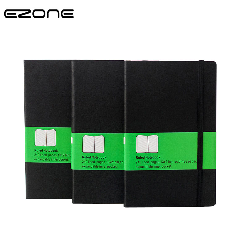 EZONE Black And Green Cover Notebook Planner Notepad Personal Diary Note book  Grid/Blank/Line Inner Planner Office Diary Memo