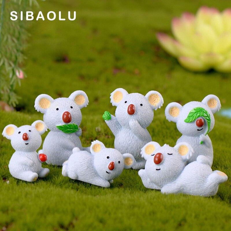 Mother Son Tree Bear Koala Family Figurine Animal Resin Craft Model Home Decor Miniature Fairy Garden Decoration DIY Accessories