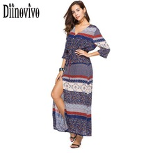 New Boho Style Floral Print Maxi Dress Women V Neck Split Sexy Dress Summer Beach Dress Large Size Tunic Robe Long Vestidos D311