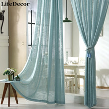 Custom Curtains Tulle Simple Modern Cotton Linen White Blue Yellow Gauze Bedroom Living Room Balcony Window Finished Screens