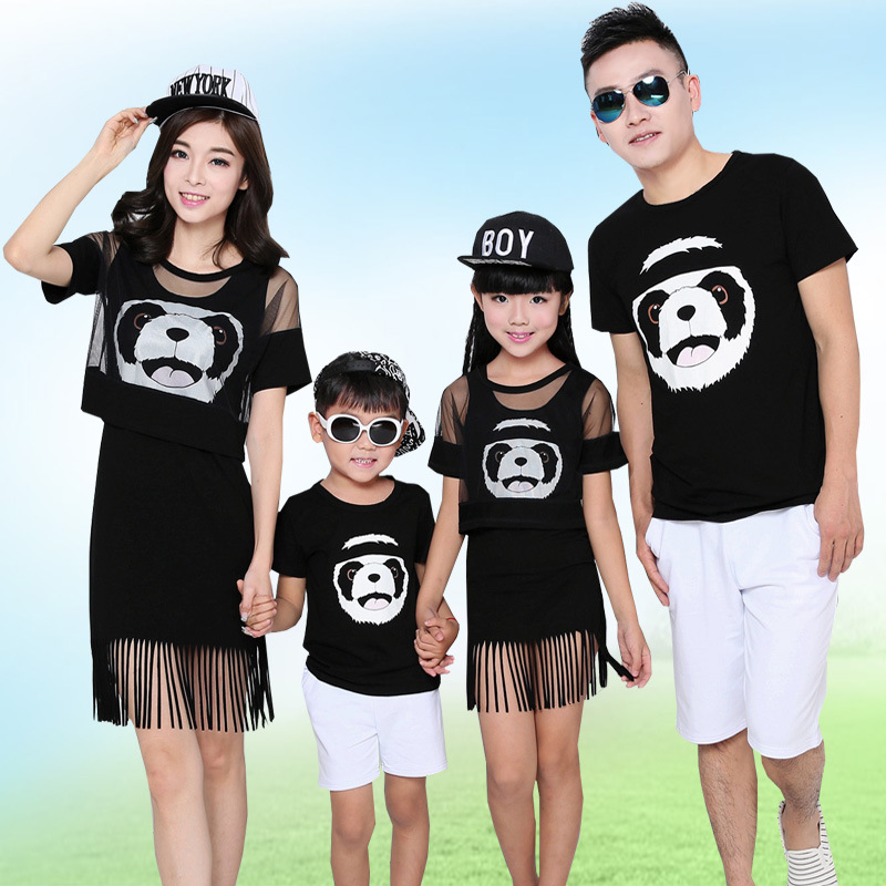 Hearty Panda Family Clothing Mom And Daughter Matching Fringe Dress Family Style Matching Outfits Father Son T Shirt Clothes Lb88 Suitable For Men And Children Women