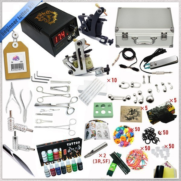 2016 High quality 2 Gun Rotary Tattoo Kit Glitter Complete Machine Equipment Sets+Ink + Piercing Tools for Beginners Body Art #T