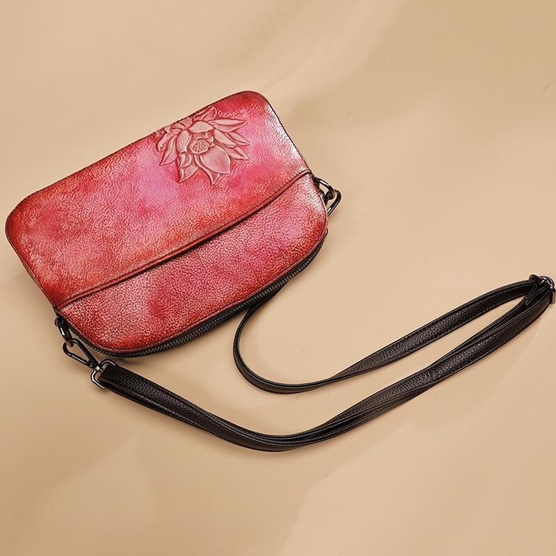 Style chinois sac à bandoulière en cuir véritable haut en cuir fermeture à glissière rabat bandoulière/Messenger sacs femmes parti Noble pochette sac à main