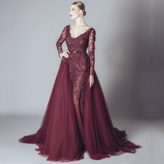Burgundy Evening Dress 2017 V-neck Long Sleeve Beaded Appliques Lace Elie Saab Formal Dress For Prom Party Wedding Vestido festa