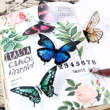 лучшая цена 30pcs/bag ged PET sticker bag, butterfly, dragonfly, fish, bird DIY stationery Handbook decorative sticker bag