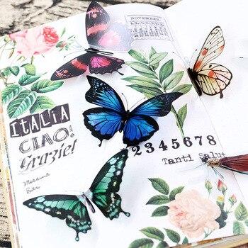30pcs/bagged PET sticker bag butterfly dragonfly fish bird DIY stationery Handbook decorative