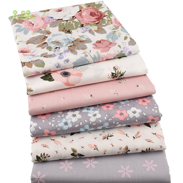 Chainho,6pcs/lot New Floral Series Twill Cotton Fabric,Patchwork Cloth,DIY Sewing Quilting Fat Quarters Material For Baby&Child 4