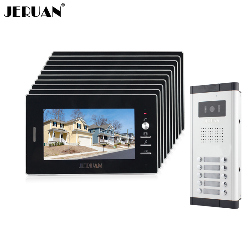JERUAN New Apartment Intercom System 7`` Video Door Phone intercom System 10 monitors+700TVL Camera  For 10 houses Free shipping my apartment