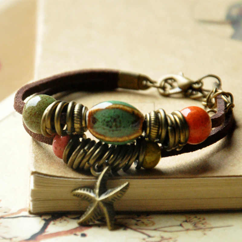 Ceramiczne koraliki skórzane bransoletki kobiety mężczyźni mankiet bransoletki Link Chain regulowane opaski na rękę rozgwiazda czeski moda urok biżuterii