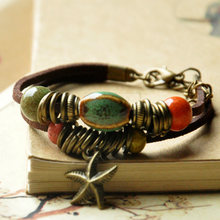 Ceramic Beads Leather Bracelets Women Men Cuff Bangles Link Chain Adjustable Wristbands Starfish Bohemian Fashion Charm Jewelry(China)