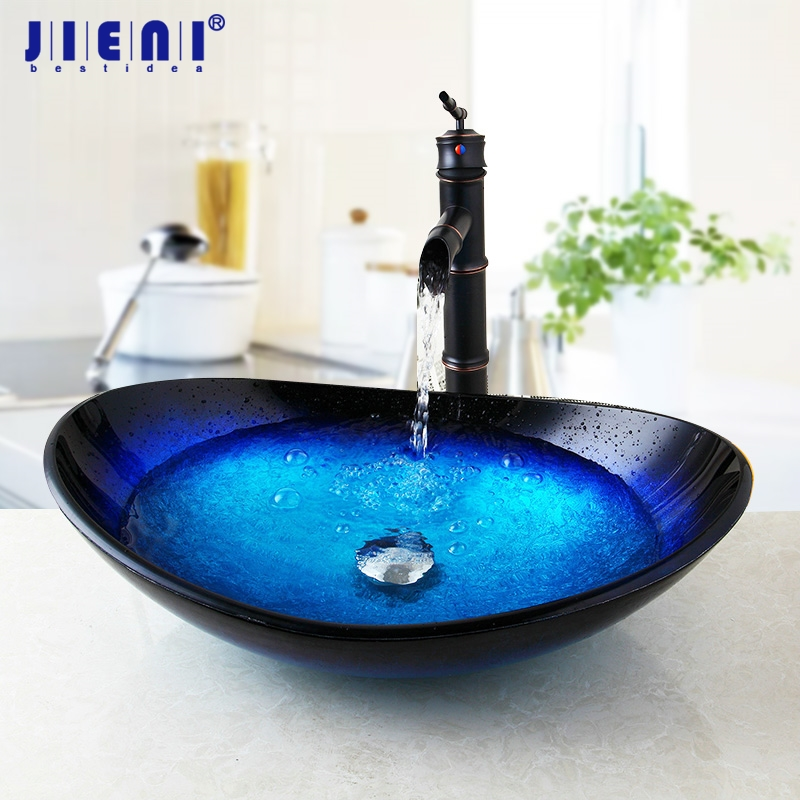 все цены на US Glass Basin Sink Faucet Vessel Drain Combo Set Waterfall Mixer faucet Counter Top Round Taps Bathroom Basin Stream Spout онлайн