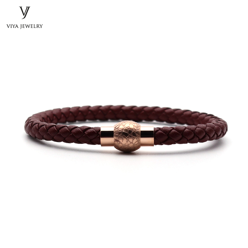 Fashion Magnet Lock Leather Bracelet Classic 6 mm Red Wine Cow Leather Braided Men Bracelet With Magnet Buckle Best Gift Has Box wholesale fine fashion men women sunglasses 3592554 with leather buckle size 56 18 130 mm