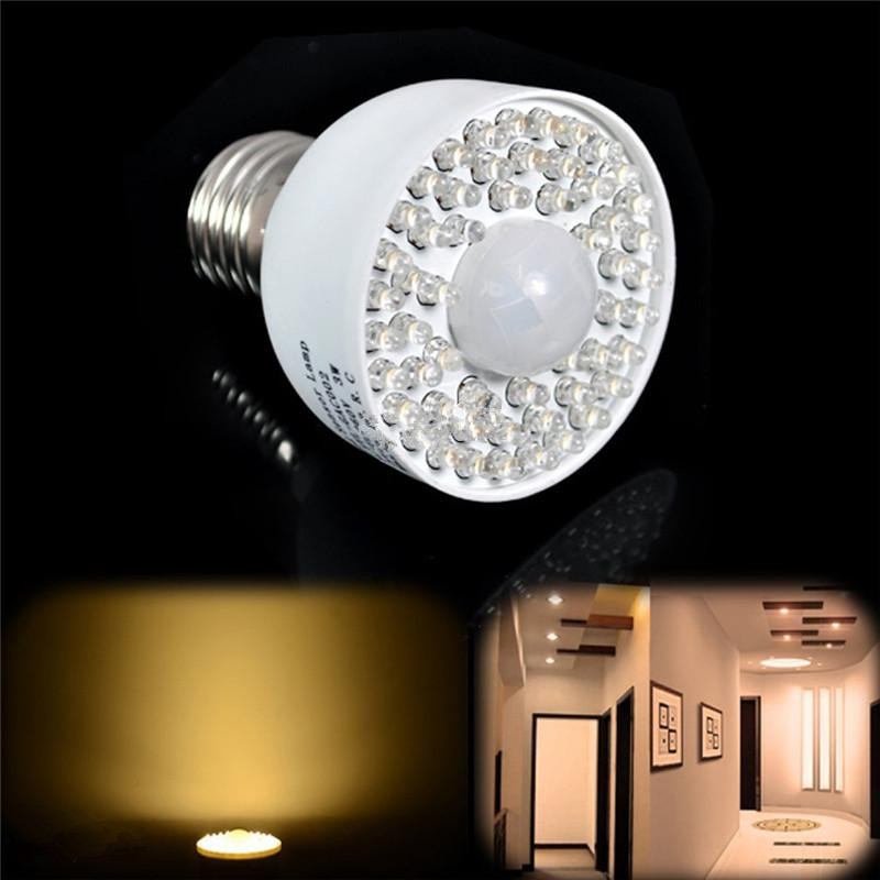 new led motion sensor light bulb 3w 54led e27 pir infrared ir motion sensor white - Led Motion Sensor Light