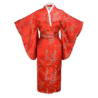 Classic Ladies Printed Long Robe With Obi Traditional Japanese Kimono Casual Bathrobe Night Dress Gown Girl Cosplay Costume