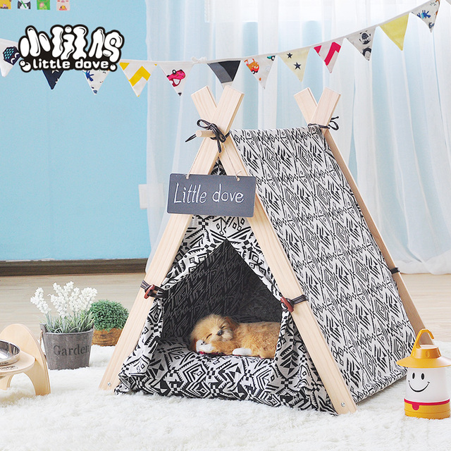 100% cotton canvas teepee play tent dog /cat play house pet dollroom with mat  sc 1 st  AliExpress.com & 100% cotton canvas teepee play tent dog /cat play house pet ...