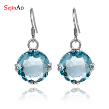 Wholesale fashion western-style style restoring ancient ways is 925 sterling silver sea blue pair of earrings