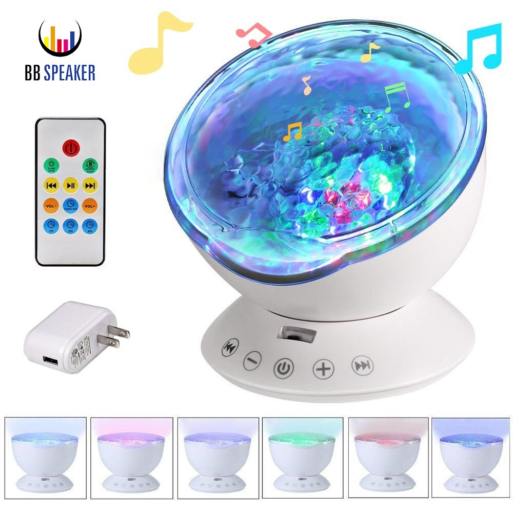 Remote Control Ocean Wave Projector 12 LED 7 Colors Led Night Light with Built-in Mini Music Player for Living Room and Bedroom