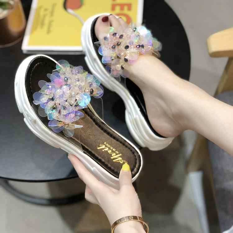Luxury Transparent Clear Bling Flowers One Buckle Women Sandals Peep Toe Slip On Zapatos De Mujer Summer Ladies Shoes Brand New