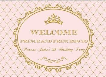 Изготовленный На Заказ Розовый и Золотой Фон для фотосъемки с изображением принцессы короны для первого дня рождения, высококачественный ф...