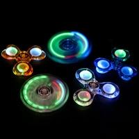 Transparent Crystal LED Hand Fidget Clear Flash Light EDC Finger Heart Shaped Tri Spinner For Autism