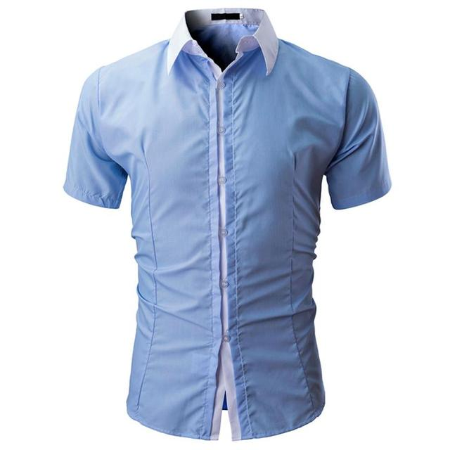 Bonito de moda Camisa lisa de manga corta de algodón para hombre, traje negocios, camisetas ajustadas, blusa Lange, Camiseta Masculina # CC
