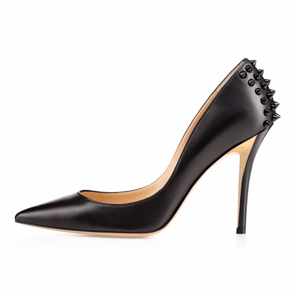 Ladies Handmade Fashion High Heel Pointed Toe Pumps Rivets Deco For Wedding Party Dress Shoes CKE097 shoesofdream ladies high heel closed pointed toe solid plain pumps decoration handmade for wedding party dress stiletto shoes