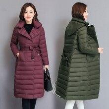 2019 New LISYRHJH 2018 Women Parka Autumn Winter Coat Slim Belt Belt Jacket Long Hooded Outerwear Winter Jackets Female Coats