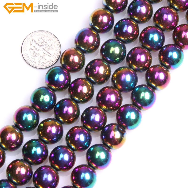 Multi-Colored Metallic Coated Reflections Hematite Beads For Jewelry Making Bracelet Necklace 2-12mm Strand 15inch DIY Jewellery
