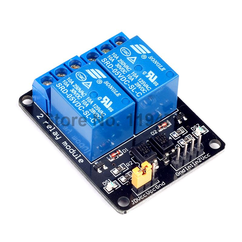 10pcs 5v 2 channel relay module for arduino arm pic avr dsp electronic free shipping