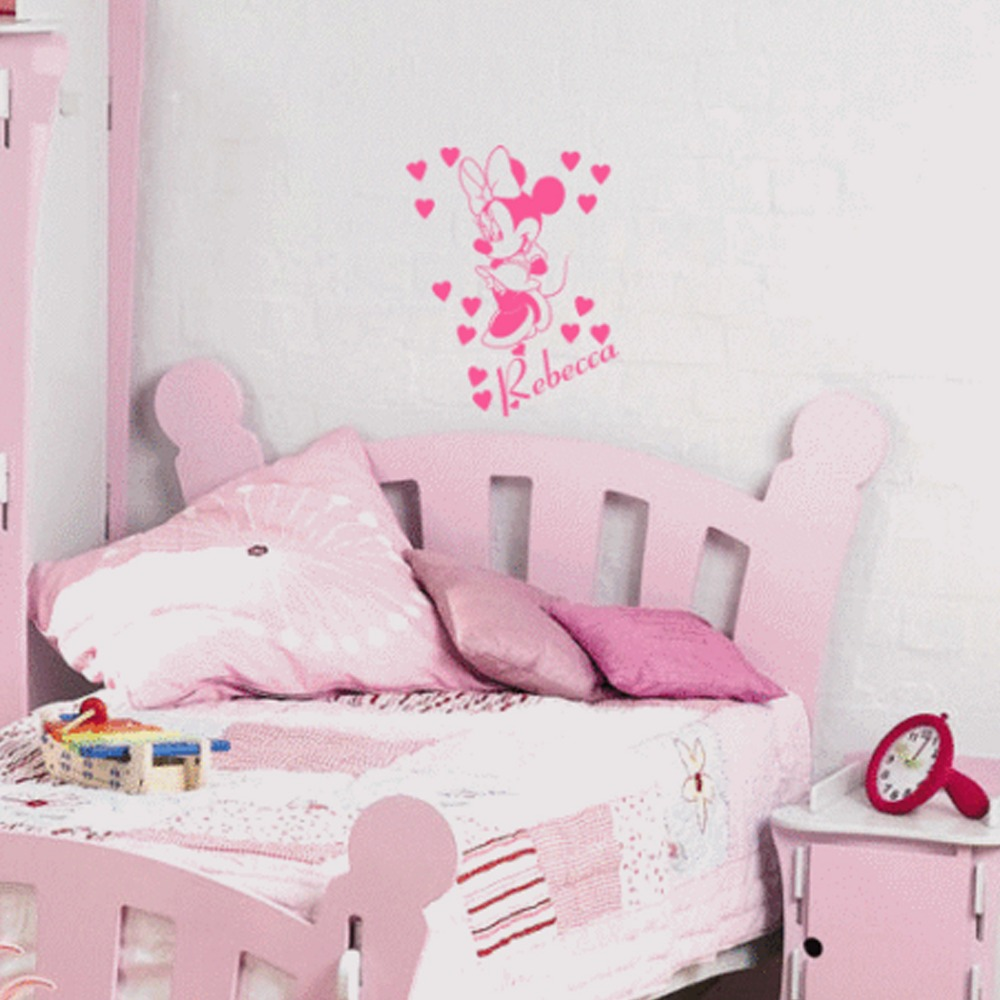 Minnie Mouse Wallpaper For Bedroom Aliexpresscom Buy 3 Sizes Minnie Mouse With Personalised Name