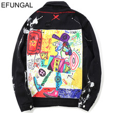EFUNGAL Hip Hop Jackets Coats Men Ripped Cartoon Graffiti Jeans Distressed Casual Jean Fashion Streewear Harem Denim Windbreaker