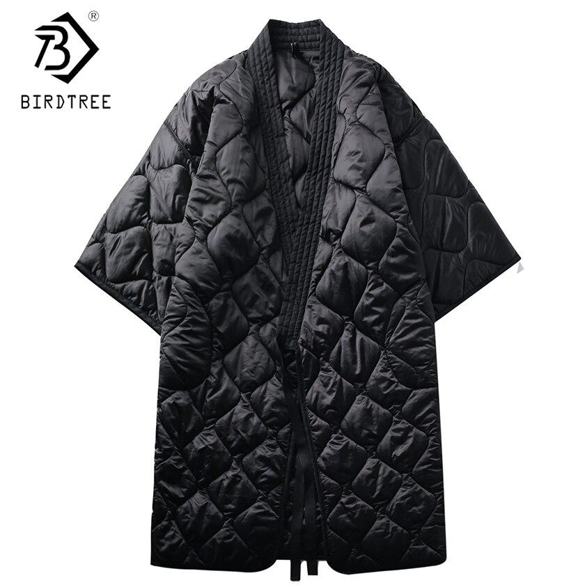 2018 осень-зима Для женщин длинные Парка на пуху прямые Повседневное черный теплая ночь платье кимоно пальто и пиджаки свободные с поясом C89405L