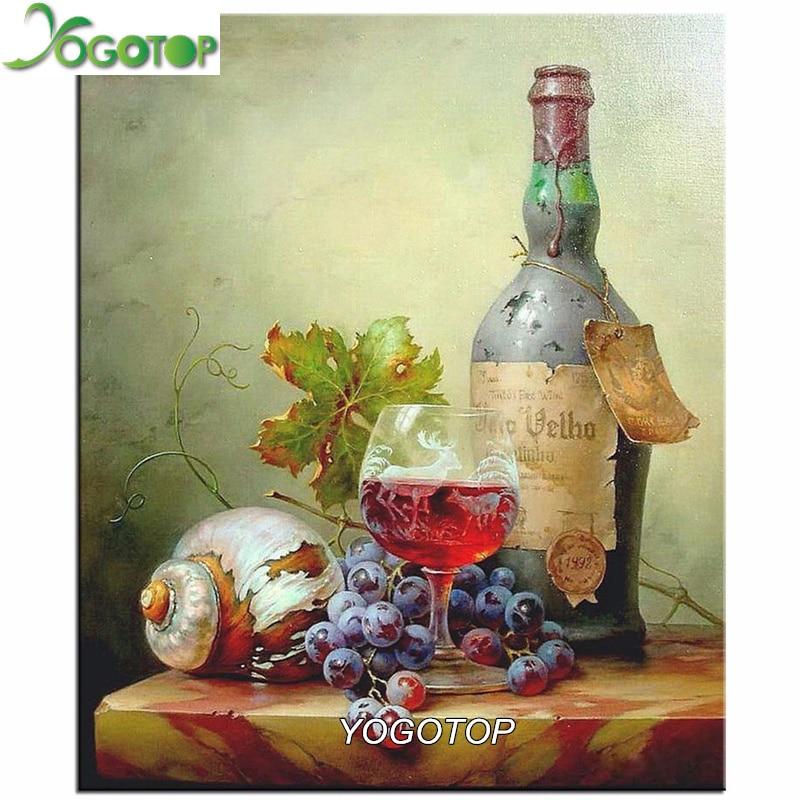 Yogotop 5d الماس التطريز الفاكهة النبيذ diy الماس اللوحة عبر غرزة مربع حفر تطريز لوحات الفسيفساء ديكور VS425