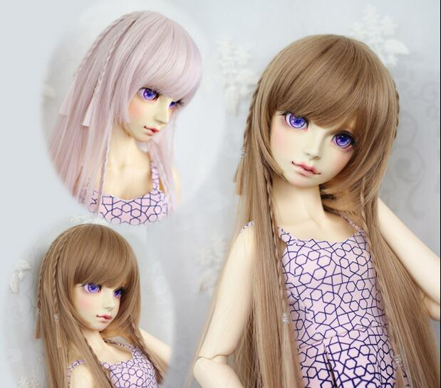 "1//4 7-8/"" BJD Doll Wig Light Blonde Straight Buckle Layers Curl Tips Hair Long Yr"
