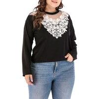 Для женщин кружево в стиле «пэчворк», больших размеров футболка Повседневное О образным вырезом с длинным рукавом Твердые Футболки Топы же