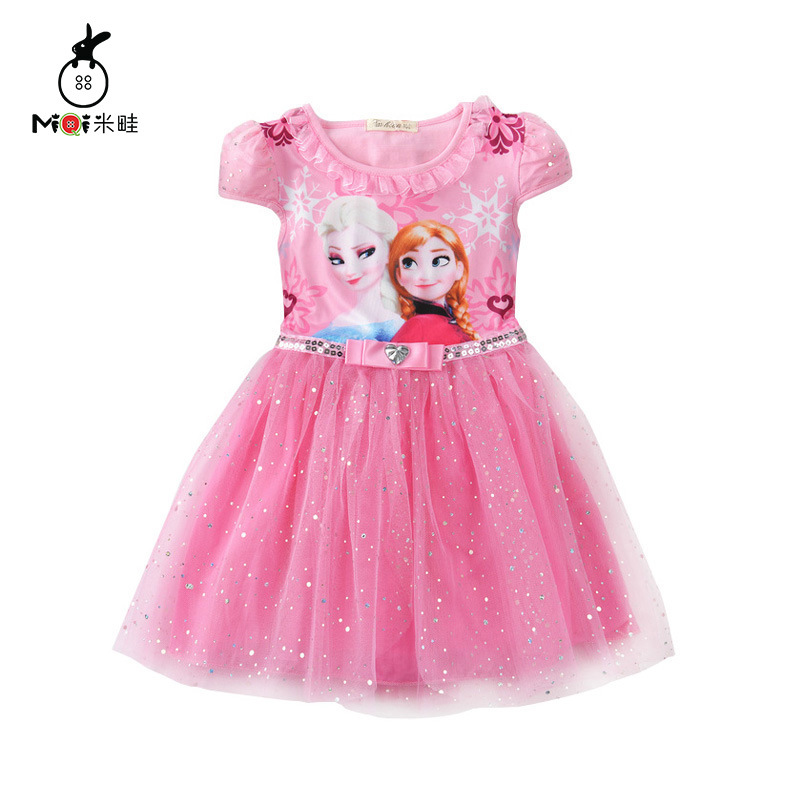 Elsa Princess Dress for Anna Girls Summer Birthday Party Dresses Ruched Kids Clothes Toddler Baby Girl Dress Children Clothing 2 футболка laura kent klingel цвет сливочный черный принт