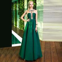 Long Emerald Green Princess Beaded Prom Dresses 2016 Satin Vestido De Festa Maxi Dress For Graduation