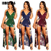 INMOTENG Sexy Deep V Neck Backless Floral Print Jumpsuit Casual Short Pants With Skirt Rompers Elegant Female Body Beach Overall