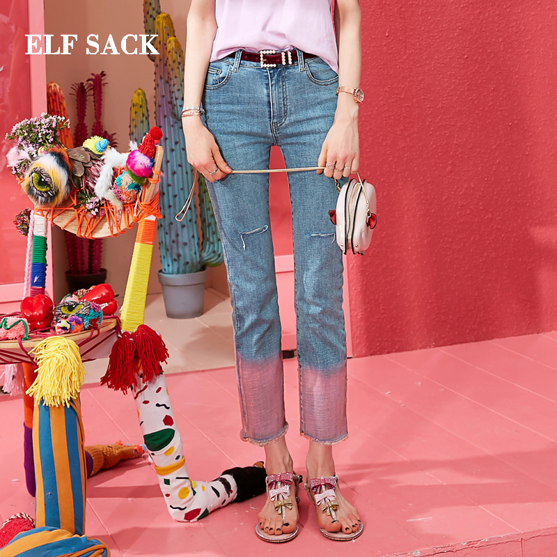 ELF SACK New Styliah Woman   Jeans   Cotton Casual Straight Ladies Pants Mid Waist Women Trousers Streetwear Denim Femme Pant