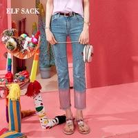 ELF SACK New Styliah Woman Jeans Cotton Casual Straight Ladies Pants Mid Waist Women Trousers Streetwear Denim Femme Pant