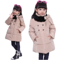 Girls Thicker Warm Down Jacket Outerwear 2017 Winter New Fashion Children 4-14Year Clothing Kids Casual Long Hooded Dowm Coat