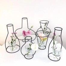 Creative Iron Transparent Vase Abstract Black Lines Minimalist Dried Flower Racks Home Decor