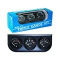 Envío gratis Negro 2 pulgadas 52 MM Triple gauge kit (0-100 Psi prensa De Aceite + agua + Voltímetro Fahrenheit) Sensor 52mm Metro Del Coche