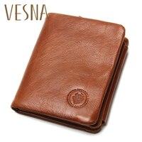 TAUREN 100% Genuine Leather Men Wallets OIL LEATHER Vintage Trifold Wallet Zip Coin Pocket Purse Cowhide Leather Wallet For Mens